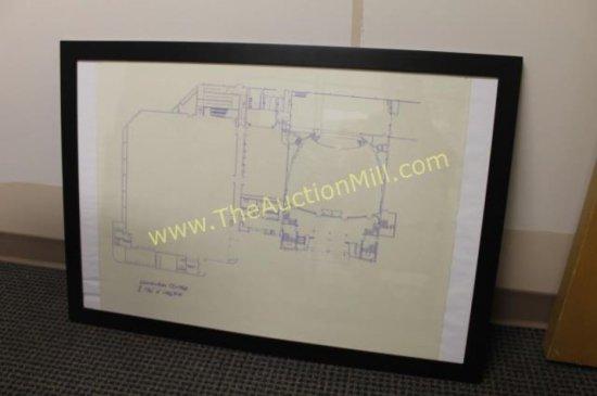 "Framed Arena Blueprints 42""x24"" Convention Center"