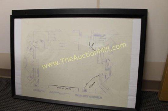 """Framed Arena Blueprints 42""""x24"""" Lower Level"""