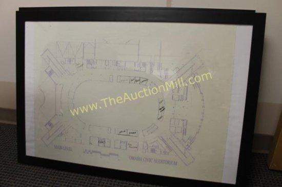 "Framed Arena Blueprints 42""x24"" Main Level"