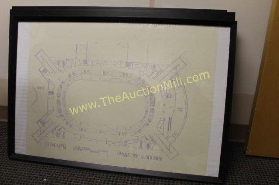 """Framed Arena Blueprints 42""""x24"""" Second Level"""