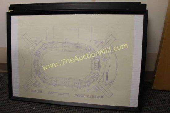 "Framed Arena Blueprints 42""x24"" Third Level"