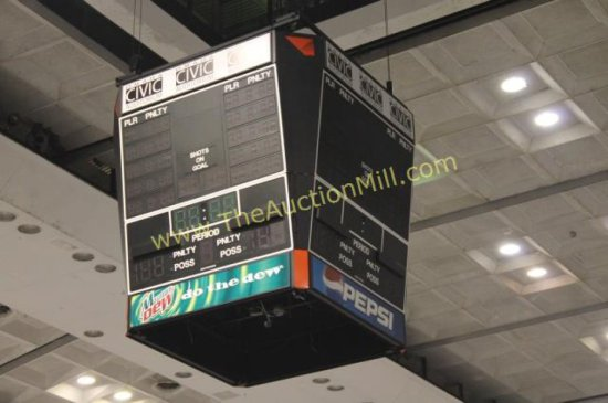 Daktronics Four Sided Arena Scoreboard Large 12' Includes All Motors, Hardware, Brackets, Catwalk ++