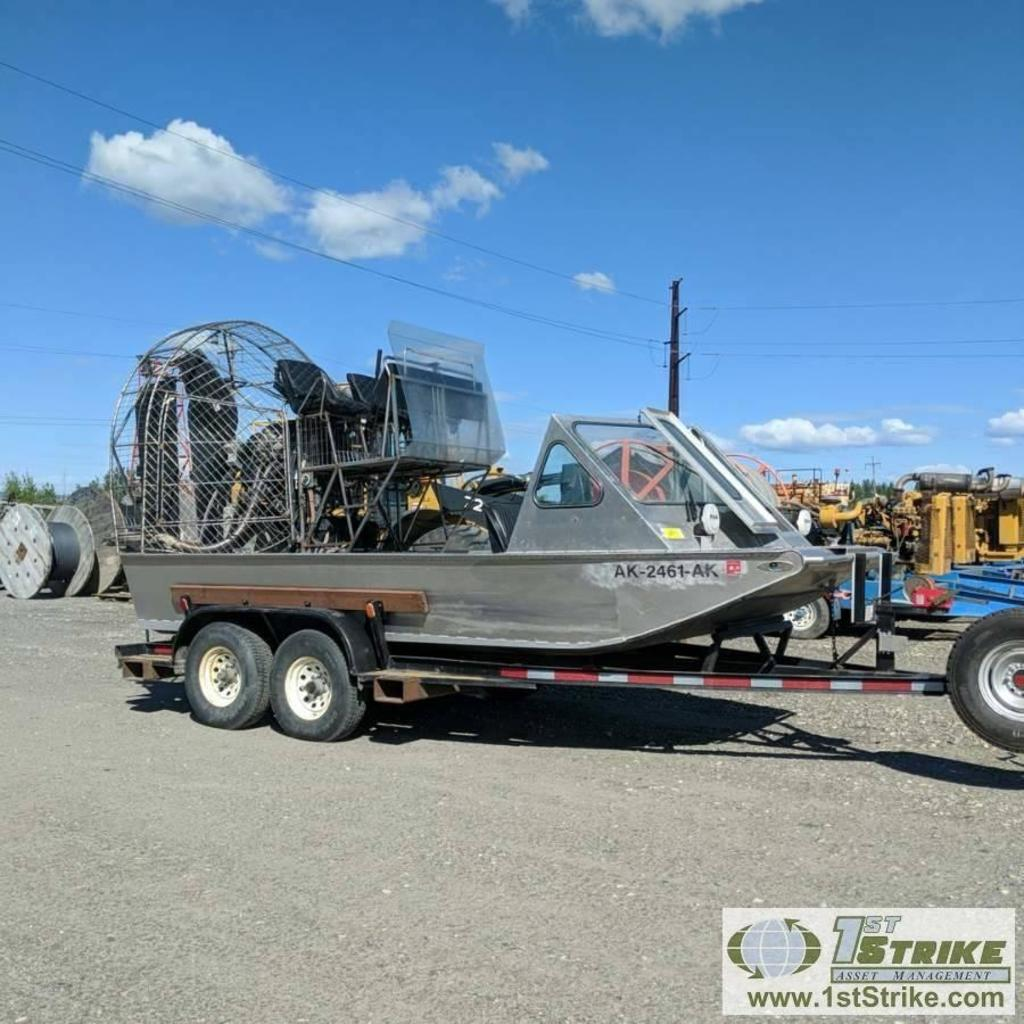 AIR BOAT, 2008, GM VORTEC 8100 ENGINE, WHIRLWIND COMPOSITE PROP, DUAL TANKS, 18FT X 7FT