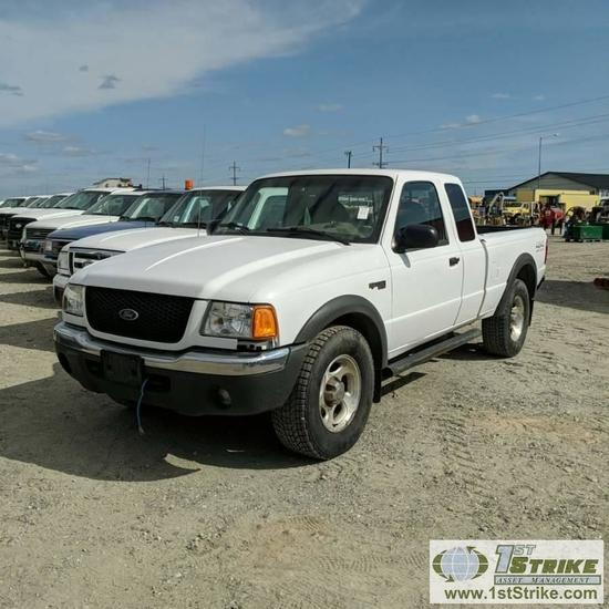 2001 FORD RANGER XLT, 4.0L GAS, 4X4, EXTENDED CAB
