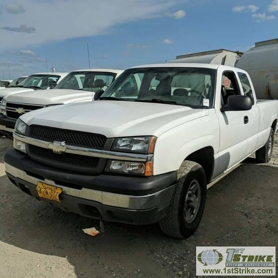 2004 CHEVROLET SILVERADO 1500, 5.3L VORTEC GAS, 4X4, EXTENDED CAB, LONG BED