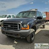 1999 FORD F-250 SUPERDUTY XL, 7.3L POWERSTROKE DIESEL, 4X4, CREW CAB, LONG BED, CAMPER SHELL