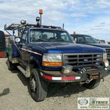 1997 FORD F-350 XL, 7.3L POWERSTROKE DIESEL, 4X4, DUALLY, REGULAR CAB, SERVICE BED, BUMPER MOUNTED W