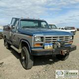 1986 FORD F-350 XL, 6.9L INTERNATIONAL DIESEL, 4X4, STANDARD CAB, PANEL BED, WITH WINCH