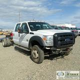 2012 FORD F-550 SUPERDUTY XL, CAB AND CHASSIS, 6.7L POWERSTROKE DIESEL, 4X4, DUALLY, CREW CAB