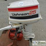 JOHNSON OUTBOARD MOTOR, 25HP, PROP, 2 STROKE WITH GAS CAN. STAND NOT INCLUDED