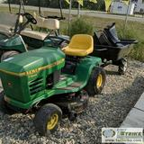 LAWN TRACTOR, JOHN DEERE STX 38, WITH MOW DECK AND BAGGER, 12.5HP KOHLER GAS ENGINE, WITH GARDEN CAR