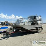 AIRBOAT, MARINE POWER, 20FT, 8FT BEAM, ALUMINUM CONSTRUCTION, MODEL A8.1HP VORTEC GAS ENGINE, WHIRLW