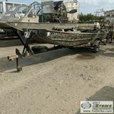 BOAT, 15FT ALUMINUM FLAT BOTTOM, 35HP JOHNSON OUTBOARD PROP, 1981 SINGLE AXLE TRAILER