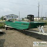 BOAT, 24FT ALUMINUM FLAT BOTTOM, 135HP EVINRUDE OUTBOARD JET, 2-STROKE, TWIN FUEL TANKS, 1974 SINGLE