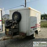 ENCLOSED TRAILER, 1996 81IN X 67IN, HOMEMADE, ALUMINUM BOX, SINGLE AXLE, 2IN BALL HITCH, WITH MOUNTE