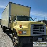 BOX TRUCK, 1998 FORD F-700, 7.0L GAS ENGINE, 24FT BOX, AUTOMATIC TRANSMISSION, DUALLY