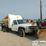 PLOW TRUCK, 1994 CHEVROLET CHEYENNE 3500, 6.5L DIESEL, 4X4, DUALLY, REGULAR CAB, FLAT BED, WITH MEYE