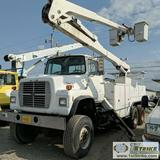 BUCKET TRUCK, 1990 FORD, L8000, FORD KFM07.8FPF3 DIESEL ENGINE, 6X6, MAUAL TRANSMISSION, TELELECT MO