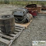 1 ASSORTMENT. 5 PLTS SCREEN PLANT AND CONVEYOR PARTS INCLUDING: SCREEN, BELT, MOTORS AND ROLLERS