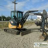 MINI EXCAVATOR, JOHN DEERE 35D, WITH THUMB AND CLEANOUT BUCKET, PUSH BLADE