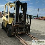 FORKLIFT, HYSTER H80XM, 6500LB CAPACITY, 173.8IN LIFT HEIGHT, 42IN FORKS, PERKINS 4CYL DIESEL ENGINE