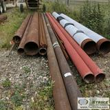 1 ASSORTMENT. MISC PIPE, STEEL, APPROX. 18FT -29FT LENGTH, MISC DIAMETERS