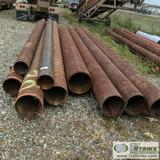 1 ASSORTMENT. MISC PIPE, STEEL, APPROX. 15FT -23FT LENGTH, MISC APPROX. DIAMETERS INCLUDING: 8.75IN,