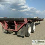 SEMI TRAILER, 1975 40FT FLAT BED, WITH ROLLER TAIL