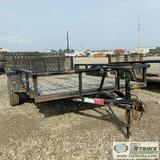 UTILITY TRAILER, 2012 DIAMOND C, SINGLE AXLE, 6FT3IN X 10FT BED, FOLD DOWN RAMP