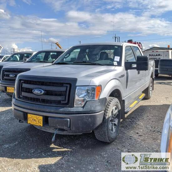 2013 FORD F-150 XL, 5.0L GAS ENGINE, 4X4, CREW CAB, SHORT BED. TITLE IN TRANSIT