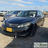 2005 TOYOTA CAMRY LE, 2.4L GAS, FWD, 4-DOOR