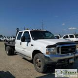2002 FORD F-350 SUPERDUTY XLT, 7.3L POWERSTROKE, 4×4, DUALLY, CREW CAB CAB, 8FT FLAT BED