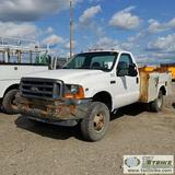2001 FORD F-350 SUPERDUTY XL, 6.8L TRITON, 4X4, DUALLY, REGULAR CAB, 9FT SERVICE BED. NO TITLE