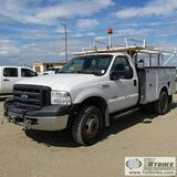 2006 FORD F-350 SUPERDUTY XL, 6.0L POWERSTROKE, 4X4, DUALLY, REGULAR CAB, 9FT SERVICE BED WITH RACK,