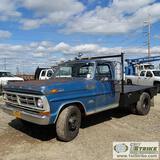 1970 FORD 350 CUSTOM SPORT, V-8 GAS, MANUAL TRANS, RWD, DUALLY, REGULAR CAB, 8FT FLATBED W/GOOSENECK