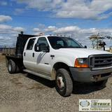 2000 FORD F-450 SUPERDUTY XL, 7.3L POWERSTROKE, 4X4, DUALLY, CREW CAB, 10FT FLAT BED