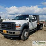 2008 FORD F-450 SUPERDUTY XL, 6.4L POWERSTROKE, 4X4, DUALLY, CREW CAB, 12FT6IN X 8FT FLAT BED,