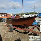 BOAT, 14FT VEE HULL, SINGLE AXLE TRAILER, NO TITLE