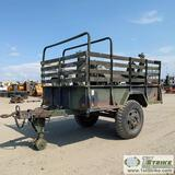 UTILITY TRAILER, MODEL 105A2. 1 1/2 TON. WITH CONTAINER MOBILIZER COMPONENTS. NO TITLE
