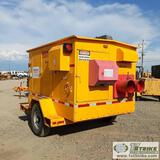 HEATER, EQUIPMENT SOURCE ES-700, 3CYL KUBOTA DIESEL, TRAILER MOUNTED, W/ COLLAPSABLE LIGHT TOWER