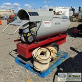 HEATER, FROST FIGHTER MODEL IDF-500, 500,000 BTU/HR, 115V, INDIRECT OIL FIRED, W/ DUCTING