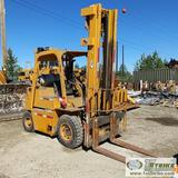 FORKLIFT, CATERPILLAR V8CE, 8000LB, EROPS, 162IN LIFT HEIGHT, PERKINS PROPANE ENGINE. UNKNOWN MECHAN
