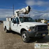 BASKET TRUCK, 2004 FORD F-550 SUPERDUTY XL, 6.8L TRITON, 4X4, DUALLY, EXTENDED CAB, 9FT SERVICE BED