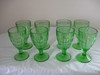 8 Green Depression Water Glasses