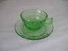 Green Depression Cup & Saucers