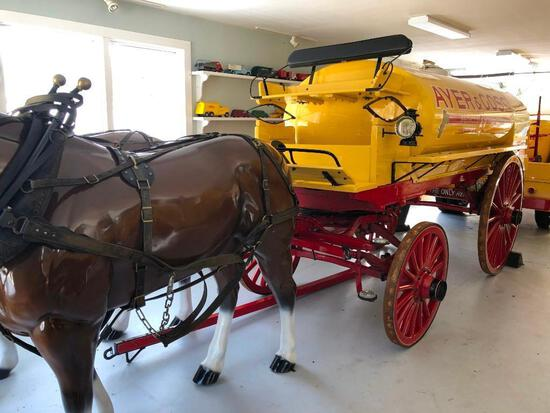 BOSTON STEEL TANK HORSE DRAWN TANK WAGON VN:N/A with a fiberglass horse team.