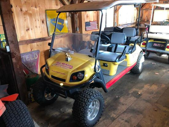 2016 EZ GO GOLF CART powered by Kawasaki gas engine, equipped with OROPS, 6-seater.