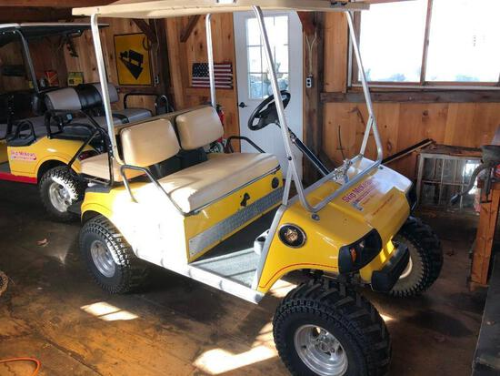 1999 CLUB CAR GOLF CART powered by Kawasaki gas engine, equipped with OROPS, 2-seater.