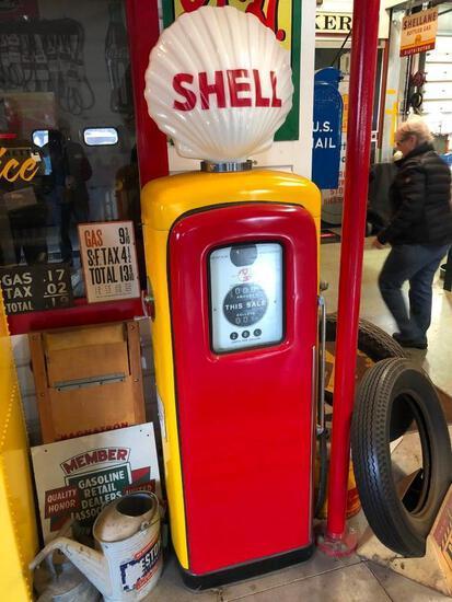 MARTIN & SCHWARTZ SHELL GAS PUMP W/ GLASS GLOBE COLLECTIBLE GAS PUMP
