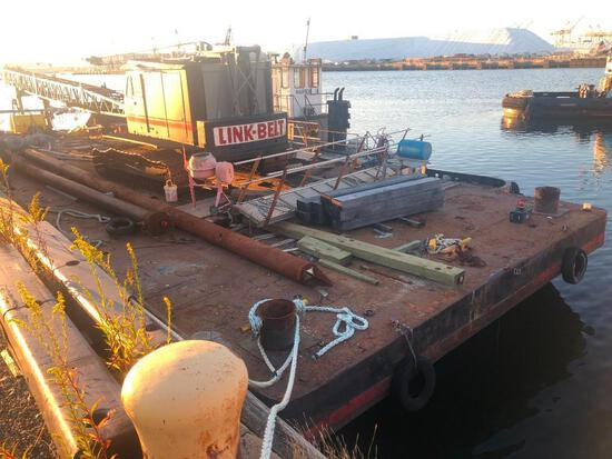 90FT. X 30FT. X 9FT. SPUD BARGE BARGE welded steel construction, (5) compartments formed by (4) tran